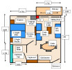 Floor Plan of a Standard One Bedroom Apartment. Click to enlarge